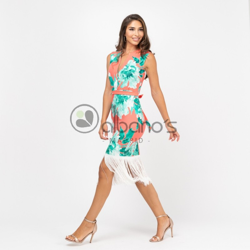 DRESS PRINT WITH FRINGES REF. 424030-29