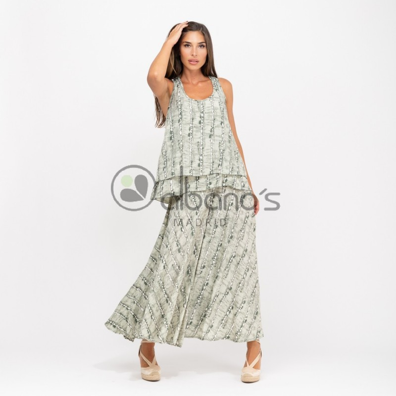 SET SILK SKIRT PANTS WITH TOP TAY-DAY REF. 6838-16