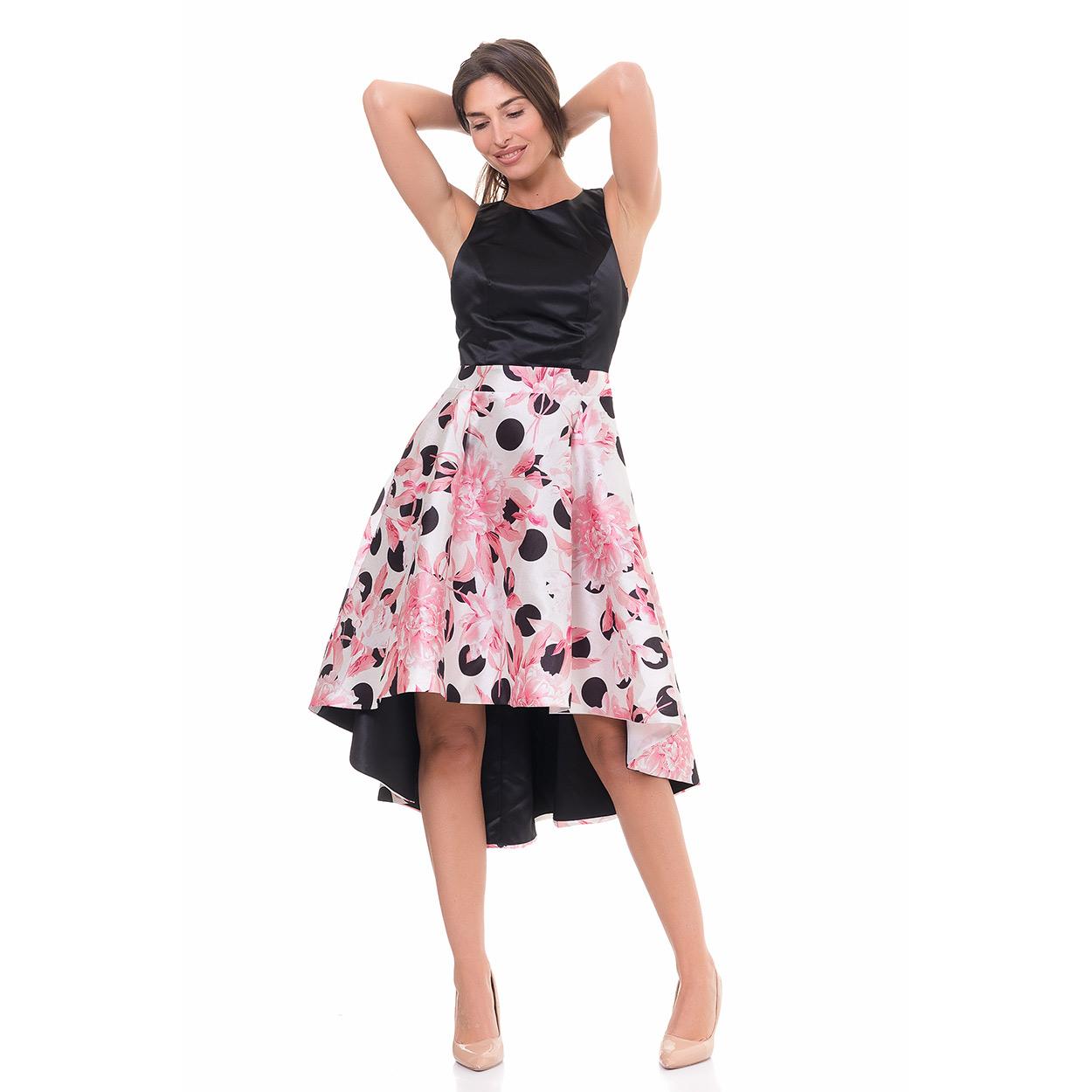 Vestido rosa detalles midi