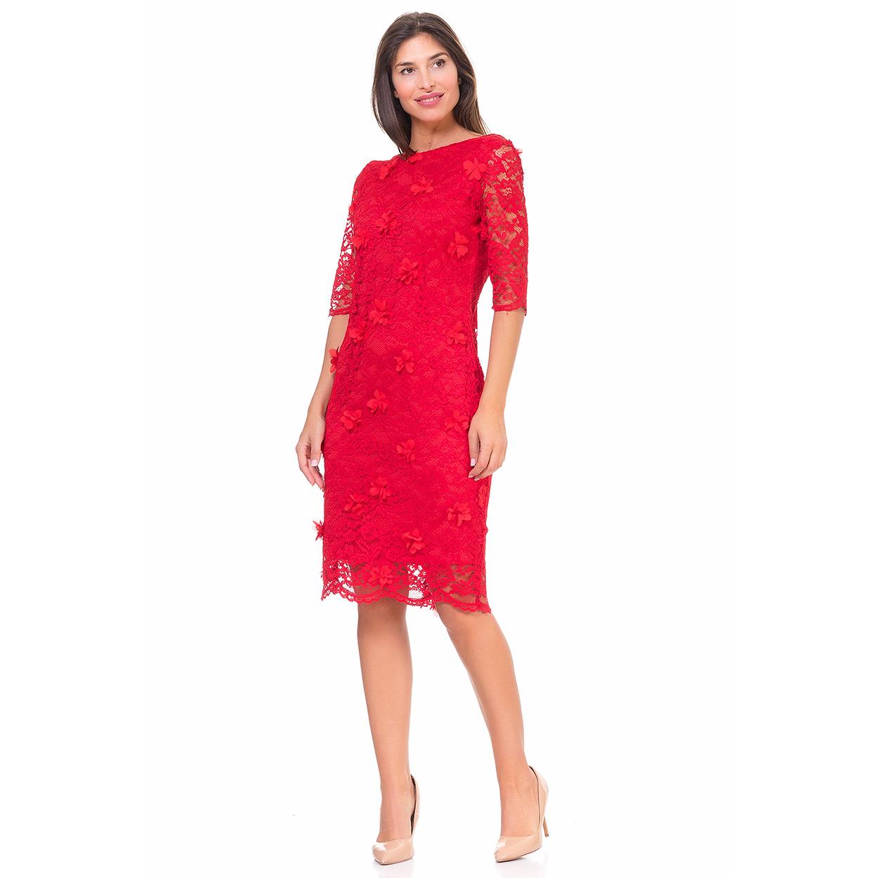 Vestido encaje rojo midi